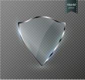 Bouclier transparent Icône d'insigne de verres de sûreté Garde Banner d'intimité Concept de bouclier de protection Élément sûr de Photos stock