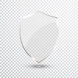 Bouclier transparent Icône d'insigne de verres de sûreté Garde Banner d'intimité Concept de bouclier de protection Élément sûr de Photo libre de droits