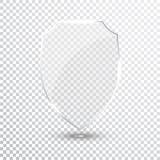 Bouclier transparent Icône d'insigne de verres de sûreté Garde Banner d'intimité Concept de bouclier de protection Élément sûr de Photos libres de droits