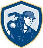 Bouclier visuel d'appareil-photo de Film Crew HD de cameraman rétro Image stock