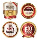 Boucliers d'or et labels de qualité de la meilleure qualité illustration libre de droits