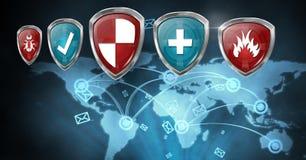 Boucliers de protection de sécurité d'antivirus Photo libre de droits