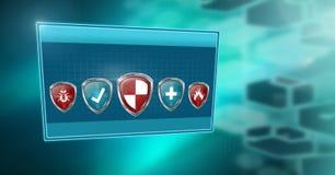 Boucliers de protection de sécurité d'antivirus dans la boîte Photos libres de droits