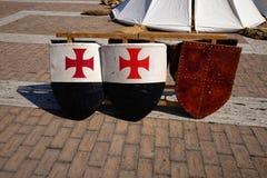 Boucliers en bois médiévaux Photos stock