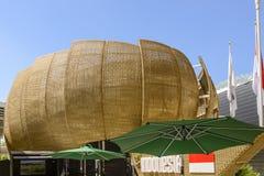 Boucliers en osier au pavillon de l'Indonésie, EXPO Milan 2015 Images stock