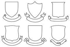 Boucliers et bannières réglés Image stock