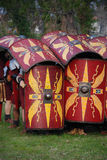Boucliers romains de soldat Photographie stock