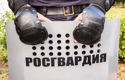 Boucliers utilisés par police anti-émeute russe Images stock
