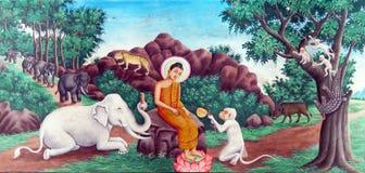 Bouddha apprivoise l'éléphant fol image stock