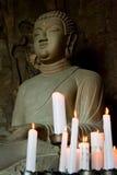 Bouddha au temple de grotte de Sanbanggulsa de Jeju Photo libre de droits