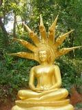 Bouddha avec Dragonshead dans la tonne de Tha/Thaïlande à la frontière à Myanmar Photos libres de droits