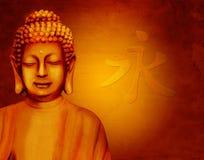 Bouddha avec le signe chinois illustration stock