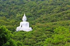 Bouddha blanc sur la montagne Photographie stock libre de droits