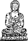 Bouddha dans la méditation dans le style de l'art de rue Illustration de vecteur d'un Bouddha noir et blanc illustration stock