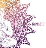 Bouddha dans la méditation sur le beau et magique mandala image libre de droits