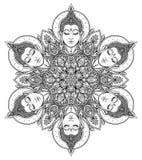 Bouddha fait face dans le modèle rond de mandala fleuri Vintage ésotérique v illustration de vecteur