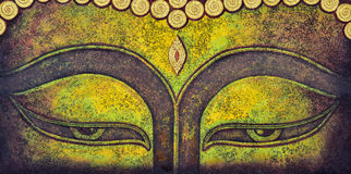 Bouddha font face à la peinture acrylique Photo stock