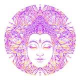 Bouddha font face au-dessus du modèle rond de mandala fleuri Vintage ésotérique illustration libre de droits