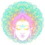 Bouddha font face au-dessus du modèle rond de mandala fleuri Vintage ésotérique illustration stock
