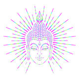 Bouddha font face au-dessus du modèle rond de mandala fleuri Vintage ésotérique Photos stock