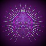 Bouddha font face au-dessus du modèle rond de mandala fleuri Vintage ésotérique Image libre de droits