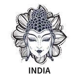 Bouddha font face Illustration décorative d'ensemble de vecteur pour livre de coloriage Inde, bouddhisme, motifs religieux Concep Photographie stock