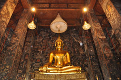 Or Bouddha Hall grand Photographie stock