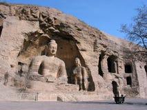 Bouddha Joss dans des grottes de Yungang images libres de droits