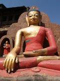 Bouddha a localisé le swayambhunath de statue photographie stock