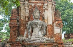 Bouddha s'asseyant à Ayutthaya photographie stock libre de droits