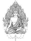 Bouddha s'asseyant au-dessus de fleur rose fleurie Vecteur ésotérique de vintage illustration de vecteur