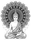 Bouddha s'asseyant au-dessus de fleur rose fleurie Vecteur ésotérique de vintage illustration stock