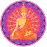 Bouddha s'asseyant au-dessus de modèle rond de mandala fleuri Vecto ésotérique illustration stock