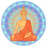 Bouddha s'asseyant au-dessus de modèle rond de mandala fleuri Vecto ésotérique illustration de vecteur