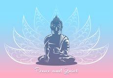 Bouddha s'asseyant dans la pose de lotus Photographie stock libre de droits