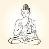 Bouddha s'asseyant tiré par la main dans la méditation Croquis pour le tatto rituel illustration libre de droits