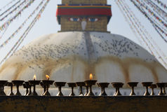 Bouddha Stupa and Butterlamps Royalty Free Stock Photography