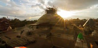 Bouddhanath Stupa onder vernieuwing in Katmandu, Nepal Royalty-vrije Stock Foto