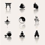 Bouddhisme, icônes de zen sur le fond blanc Photographie stock