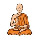 Bouddhiste dans la robe longue orange Bouddha, concept de bouddhisme Illustration de vecteur de dessin animé Photographie stock libre de droits
