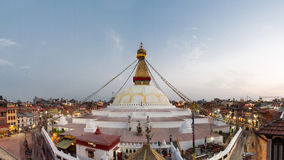 Boudha Wide. Boudhanath Stupa, precessed by the faithful Stock Images