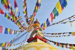 Boudhanath佛教stupa在加德满都 免版税库存照片