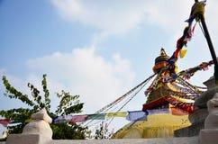 Boudhanath或Bodnath与菩萨眼睛或智慧的Stupa注视 免版税库存照片