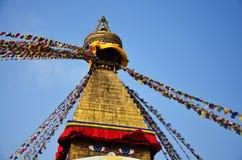 Boudhanath或Bodnath与菩萨眼睛或智慧的Stupa注视 免版税库存图片