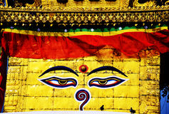 Boudhanath or Bodnath Stupa with Buddha eyes or Wi Stock Photography