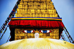 Boudhanath or Bodnath Stupa with Buddha eyes or Wisdom eyes Royalty Free Stock Photos