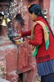 Prayer in Boudhanath Stock Photos