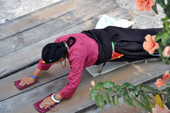 Prayer in Boudhanath Stock Image