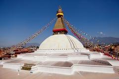 Boudhanath jätte- buddistisk stupa i Katmandu Himalaya Nepal Royaltyfria Bilder