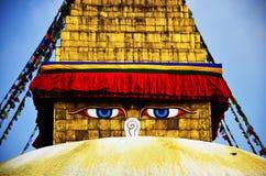 Boudhanath o Bodnath Stupa con Buddha osserva o la saggezza osserva Fotografie Stock Libere da Diritti